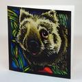Wombat Original Lino Print Blank Greeting Card