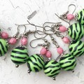 Funky Pink Bright Green Black Tiger Stripe Fantastic Plastic Ball Earrings