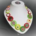 Christmas button necklace - Christmas Colours