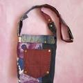Denim Crossbody Bag, Vintage Retro Fabric Bag, Recycled Denim Bag