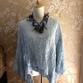 Crocheted necklace lariat Spring Collection (72% cotton 28% wool)