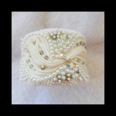 White Beaded Shibori Bracelet Cuff