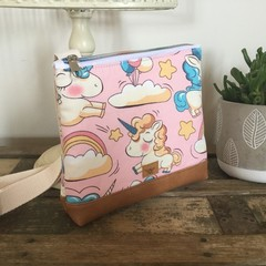 Girls Crossbody Bag - Baby Unicorns on Pink