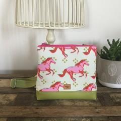 Girls Crossbody Bag - Pink/Red Horses