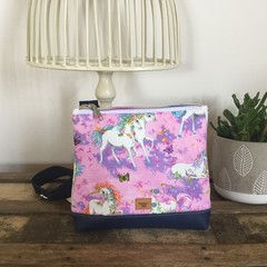 Girls Crossbody Bag - Unicorns on Mauve