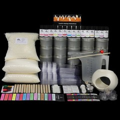Giant Soy Candle Making Kit with 15 fragrances, tins, labels & BONUS melt warmer