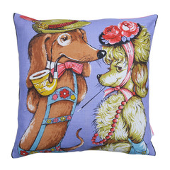 Vintage Retro Tea Towel - DOGS cute illustration Cushion