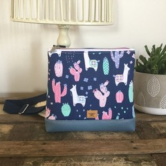 Girls Crossbody Bag - Llamas on Navy