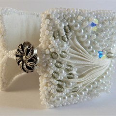 White Beaded Shibori Bracelet Cuff