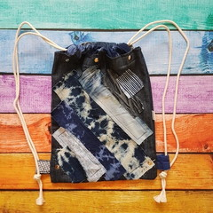 Denim Backpack, Bleached Denim Drawstring Backpack, Gym Bag