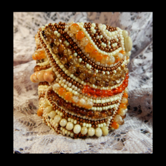 Beaded Bracelet Cuff in Autumn Tones