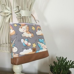 Girls Crossbody Bag - Baby Unicorns on Grey