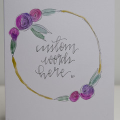 Watercolour Rose Cards - Custom - Set of 4 FREE POSTAGE