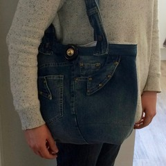 UPCYCLED Blue Denim Wash Tote Bag  From Jeans Cream Lining 38cm x   27cm