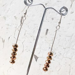 Sparkly Mettallic Stacked Bronze Cut Glass Stick Earrings