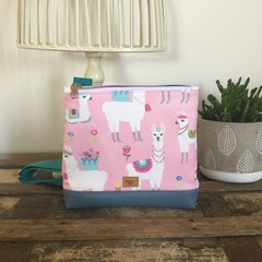 Girls Crossbody Bag - Llamas on Pink