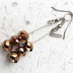 Sparkly Mettallic Stacked Bronze Cut Glass Mini Stick Earrings