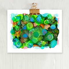 'Sea Garden 2'. A4 or A3 Reproduction Art PRINT of my mixed media painting
