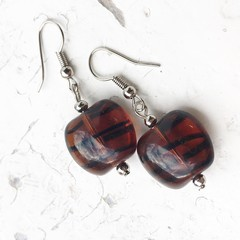 Wild Tiger Stripe Amber Black Czech Glass Bead Earrings