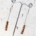 Sparkly Metallic Stacked Bronze Cut Glass Stick Earrings