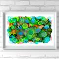 'Sea Garden 2' A4 Reproduction Art Print of original mixed media painting.