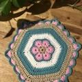 Crochet Pot Holder/Trivet - Unicorn Daze