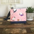 Girls Crossbody Bag - Unicorn  Faces on Pink