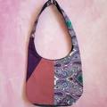 Vintage Fabric Handbag, Denim Tote Bag, Linen Fabric Tote, Necktie Bag