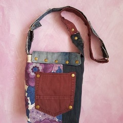 Denim Crossbody Bag, Vintage Retro Fabric Bag, Recycled Denim Bag