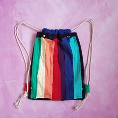 Rainbow Drawstring Bag, Recycled Denim Gym Bag, Drawstring Gym Bag