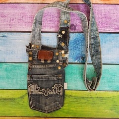 Denim Pocket Bag, Pocket Purse, Dog Walking Bag, Crossbody Bag