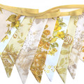 Vintage Retro Bunting - Mustard / Yellow, Lace Floral Flags . Party Decoration