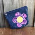 Upcycled denim purse - Purple flower