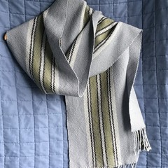 Handwoven Scarf,   Pure Wool, Long, Grey