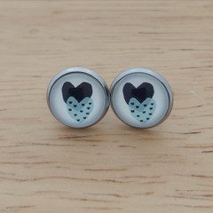 Glass dome stud earrings Double heart