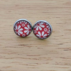 Glass dome stud earrings Red and white flowers