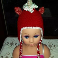 Christmas Unicorn Santa earflap hat! Red hand made crochet hat, beanie.