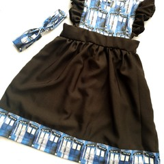 Cotton linen Tardis pinafore dress - baby - toddler - children - size 4