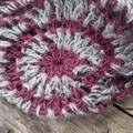 crocheted shopping carry string bag made from maroon, grey with blue -hemp yarn.