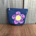 Upcycled denim purse - Purple flower