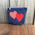 Upcycled denim purse - Red Heart