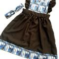 Cotton linen Tardis pinafore dress - baby - toddler - children - size 4