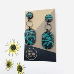 Street Art Dangles - Black/Jade