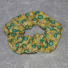 Yellow and Teal Floral Scrunchie