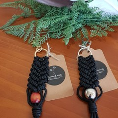 Mermaid macrame black keyrings/bag charms 