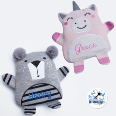 Unicorn & Bear Personalised Wheat Bag Use hot/cold 100% Australian Kids Gift