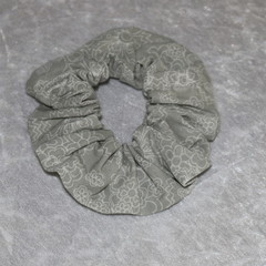 Grey and White Scrunchie