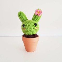 Cactus Bunny Crochet, cacti rabbit amigurumi, home decor, fake plant, houseplant