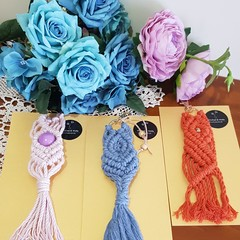 Vibrant cotton macrame keyrings/bag charms Free Delivery