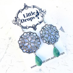 Pretty Metal Mandala Charm Green Jade Glass Drop Earrings